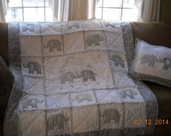 Flannel Elephant Scrappy Quilt and Pillow