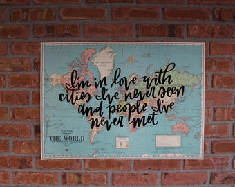 "Travel Themed Calligraphy, Hand-painted 20x28"" Vintage World Map"