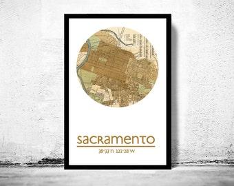 SACRAMENTO CA - city poster - city map poster print