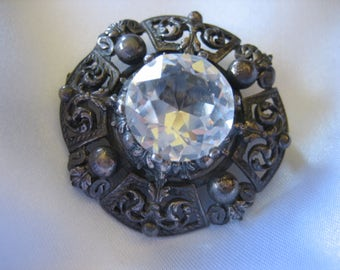 Vintage Art Nouvea Sterling Silver Large Faceted Crystal Brooch/Pin Pendant 16.9 Grams