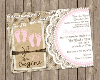 Twins Baby Girl Shower Invitation in Pink with Footprints, Burlap and Lace - printable 5x7