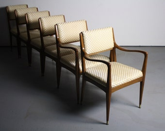 Gorgeous Countoured Set of Six Walnut Mid Century Dining Chairs