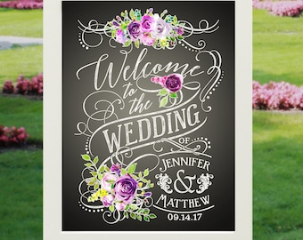 "Wedding Sign - Welcome Wedding Poster | 18x24"" Vintage Label Chalkboard Style Floral Design Personalized Print w Names & Date (unframed)"