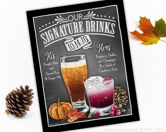 Fall Autumn Wedding Decoration | Signature Drink Sign - DUAL DRINKS - Personalized  Weddings, Parties, Events - Made to Order - All Custom