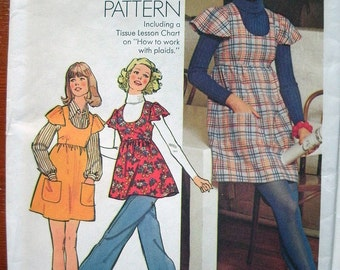 Simplicity Vintage How To Sew Pattern 5796 Young Junior/Teens and Misses Short Jumper or Tunic Size 7-8 Bust 29 UNCUT Vintage Pattern 1973
