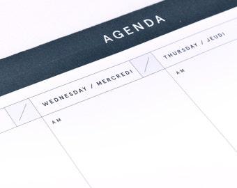 Agenda - Weekly planner - Week agenda Notepad