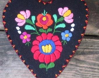 Folk Art Heart Box,Hungarian  Matyo  Traditional  Ethnic embroidered decoration on black felt