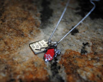 Flip Flop Necklace with Quote - Red