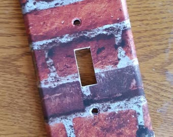 Red Brick Switchplate and Outlet Covers  - single, double, triple, rocker