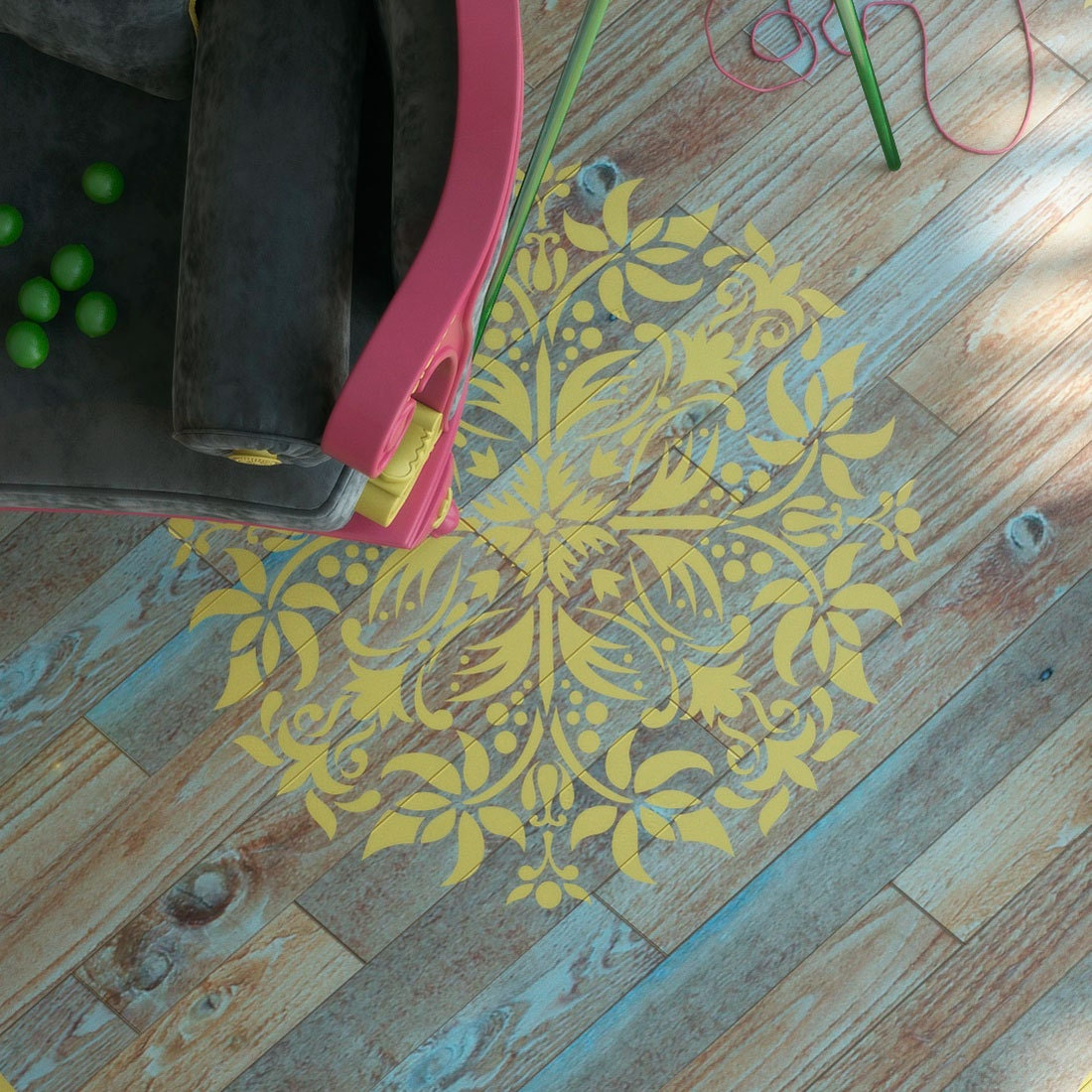 pochoir mandala plancher d cor pochoir peinture murale. Black Bedroom Furniture Sets. Home Design Ideas