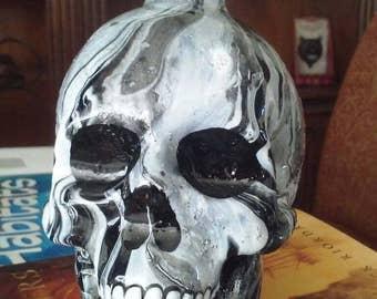 Marble glass skull bottle