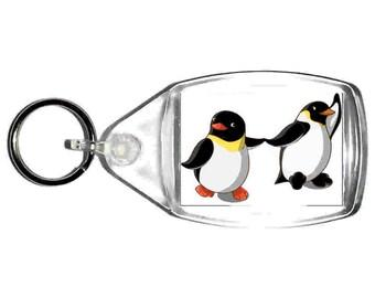 keyring double sided , cute penguins holding hands, keychain, keyfob novelty funny new keychain key ring