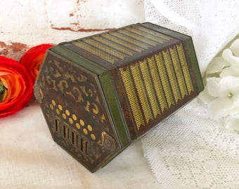 """RARE Antique """"Concertina"""" Accordion Tin Litho Box, 1930 Vintage Jacob's Biscuit canister advertising Music Squeeze Box Figural, Musical Toy"""