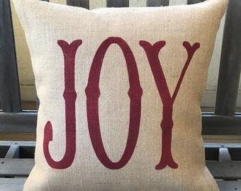 Joy Burlap Pillow - Christmas Pillow - Winter Decor