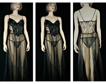 Vng Fredericks of Hollywood Sheer Burlesque Gown& Panties Sz S-M / 80s Sheer Nylon Chiffon  Lace Baby Doll Peignoir / Vng Playboy Peignoir