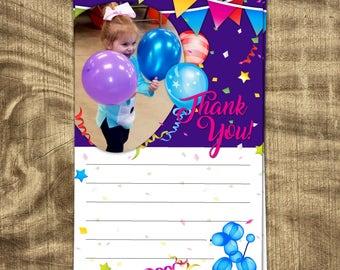 Balloon Theme Thank You Card, Girl's Birthday Thank You, Girls First Birthday, Second Birthday, Thank You with Photo, Balloon Animal