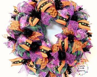 Halloween Deco Mesh Wreath, Pumpkin Wreath, Halloween Wreath