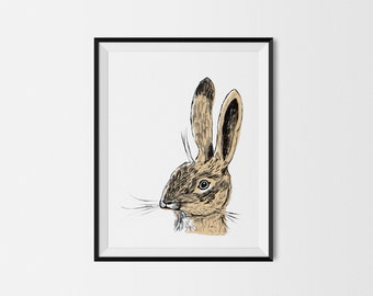 Rabbit Print, Brown Rabbit 11x14 Art Print