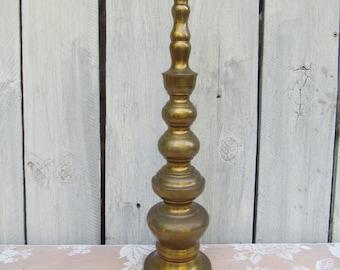 Large Brass Floor Candlestick Holder, Mid Century Candle Holders, Fireplace Candle Holder, Mid Century Decor, Vintage Wedding Decorations