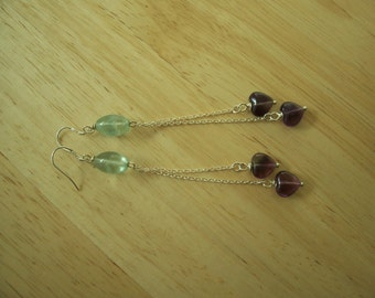 Natural Purple and Green Fluorite beaded Dangle Earrings in Sterling Silver with hearts