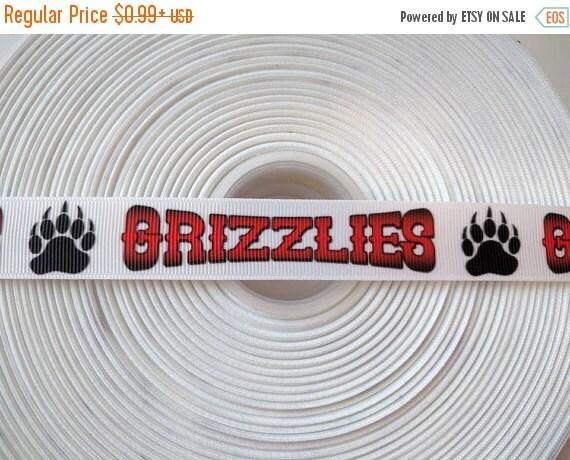"""SUPER SALE GRIZZLIES Football 7/8"""" 22mm Grosgrain Hair Bow Craft Ribbon 783166"""