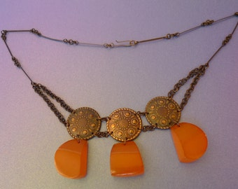 k3 Old Vintage USSR Soviet Latvia Folk Etnith Jewelry Orange Baltic Amber gems Necklace Choker Collar