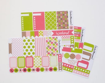 Weekly Planner Sticker Kit - Spring Pink Green and Brown