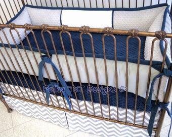 Light Grey, Navy & White Baby Boy Crib Bedding : Jay