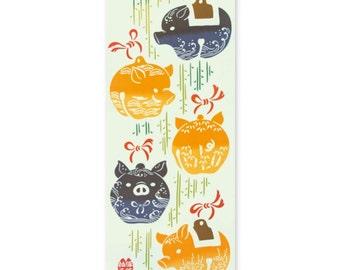 Tenugui, animal fabric, pig, pig hand towel, cotton fabric, Japanese tapestry, tenugui gift, orange, lucky pog, free shipping