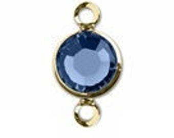 57700 SAPPHIRE 8pcs Swarovski Channel Drops Gold Plated Two Loops, September Birthstone Connectors