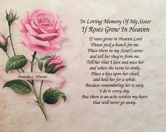 Memory of Sister, Sympathy Gift, Condolence Gift, Memorial Day Gift, In Loving Memory, In Memory Gift, Sympathy Poem, Loss of Sister, Heaven