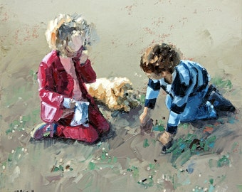 Original painting, impressionist painting, oil painting, wall art, childhood friends, painting, titled 'Best Friends II'. Ready to hang.