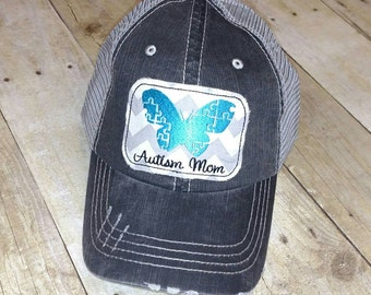 Autism Mom Butterfly Puzzle Pieces Distressed Trucker Hat