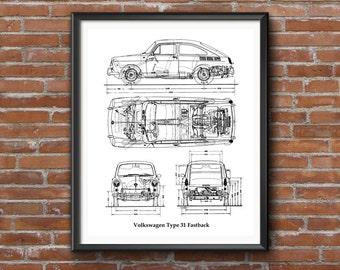 "Volkswagen Type 31 Fastback, VW Classic Fastback, Blueprint Decor, Instant Download, VW, Blueprint Art, VW Blueprints, 8x10"", 11x14"", 16x20"""