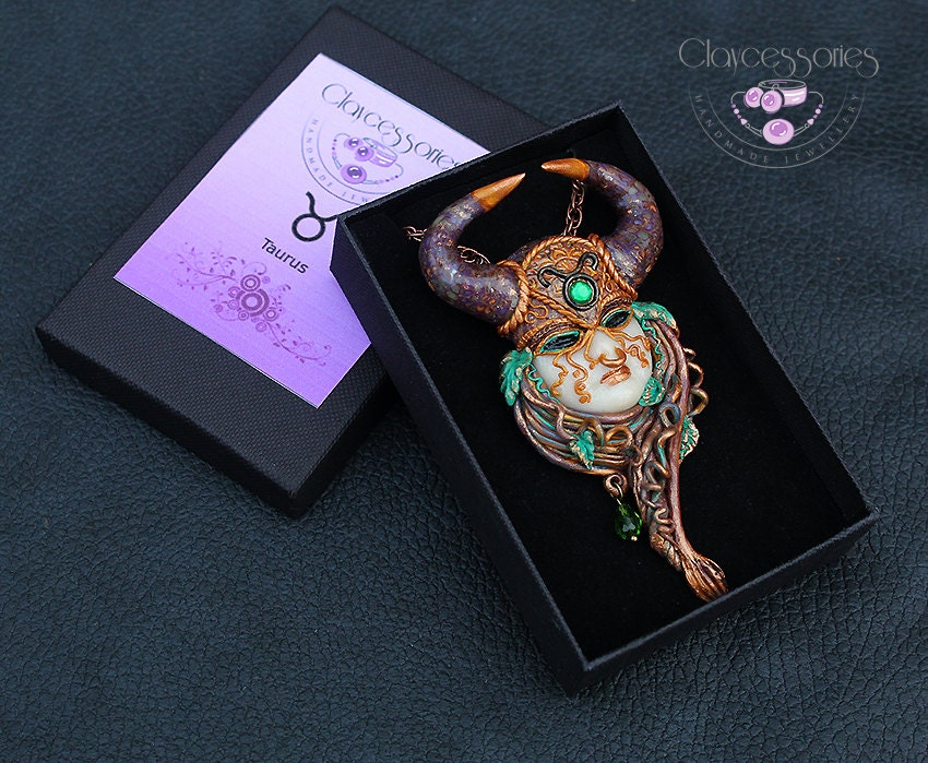Taurus pendant / Taurus necklace / Zodiac pendant / Taurus gift / Taurus zodiac / Horoscope pendant / Taurus jewelry / Polymer clay pendant