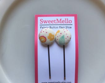 Fabric Button Hair Pins