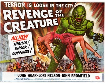 "Vintage Horror Science Fiction Movie Poster Print, 1954, Revenge of the Creature, PMSF 11"" x 14"""