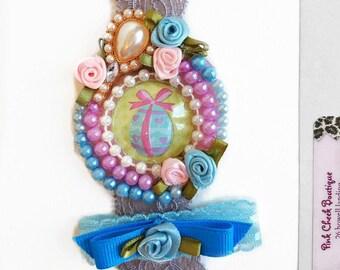 Baby headband/Easter headband/lace headband with pearls/baby Easter Headband/Newborn first Easter/Girls Easter Headband