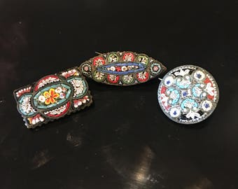 Three 1900 Italian vintage micro mosaic brooches