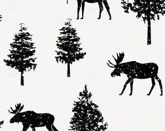 Onyx Moose Organic Fabric - By The Yard - Boy / Girl / Gender Neutral