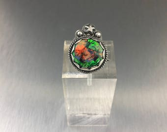 Monet opal ring, monarch opal ring, opal ring, cultured opal ring, sterling silver