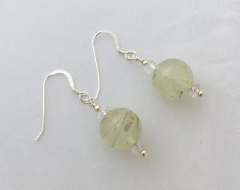 PREHNITE EARRINGS pale green stones clear quartz crystal rock quartz gemstone dangle earrings prehnite jewelry