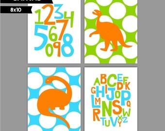 Orange Green Blue Dinosaur Baby Boy nursery art prints Nursery canvas art, Alphabet numbers Set of 4 8x10 ( S81014 )