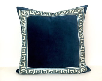 Navy Blue Pillow Cover with Navy and Off -White Greek Key Trim
