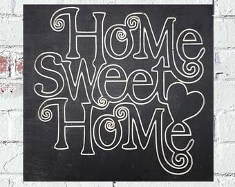 Home Sweet Home w/ Heart Custom Wood Sign Decor Black