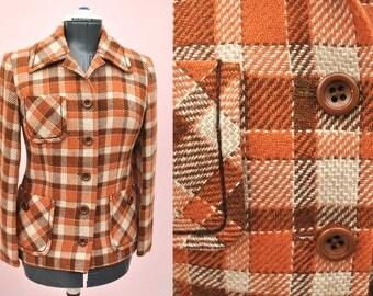Vintage 1960s Orange / Rust Plaid Wool Mohair Windsmoor Jacket