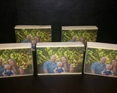 Ensemble of 6 color wooden photo blocks-family picture