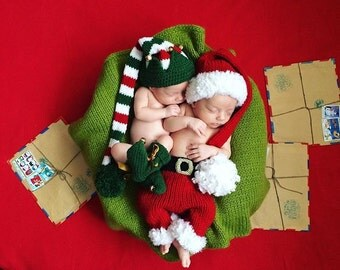 Newborn knit Hat. Elf Hat. Photo prop Hat. Baby Elf Hat. Сap elf and boots elf. Hat with bells