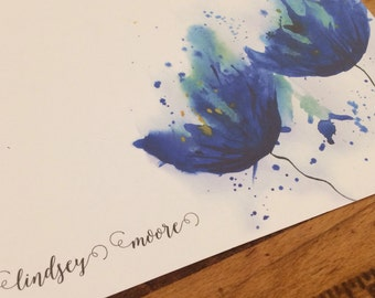 Watercolor blue cornflower stationery set