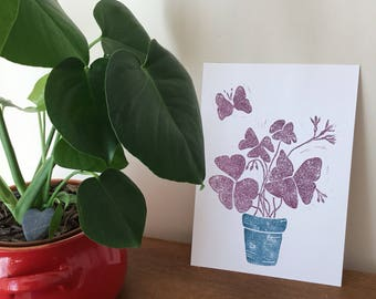 Butterfly Shamrock - Purple. Original Handprinted lino cut.